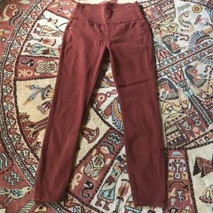Spanx burgundy jeggings with side zip